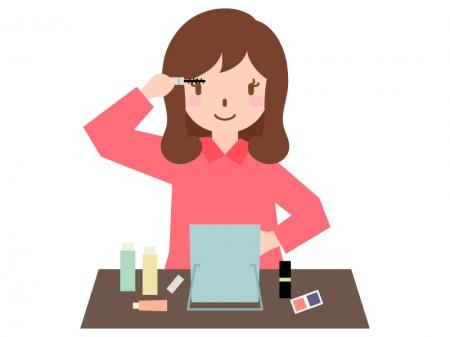 マスカラをする女性のイラスト