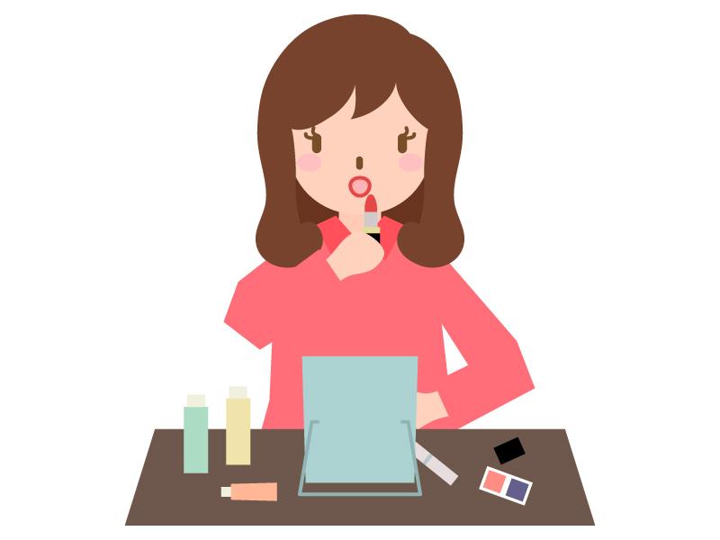 口紅(リップ)をする女性のイラスト