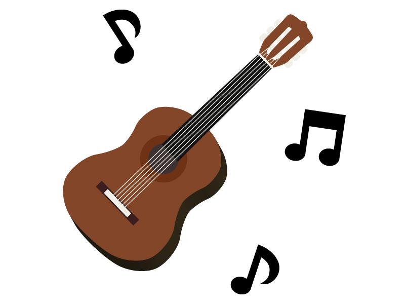 音符とアコースティックギターのイラスト