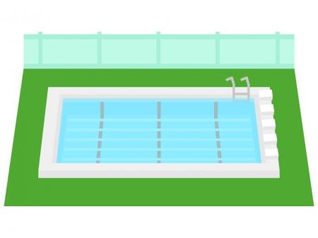 学校のプールのイラスト