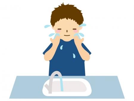 洗面所で洗顔をする男性のイラスト