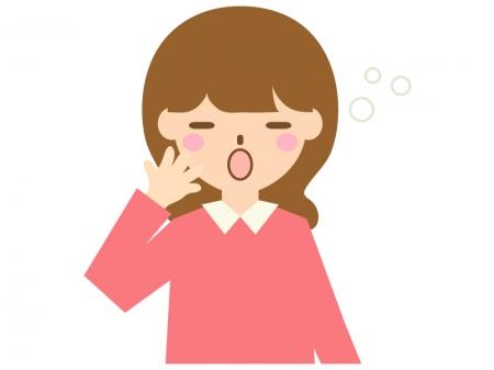 あくびをする人(女性)のイラスト