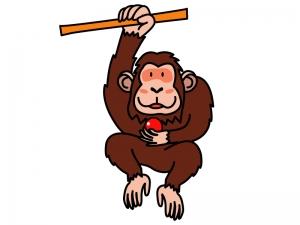 枝にぶら下がったチンパンジーのイラスト