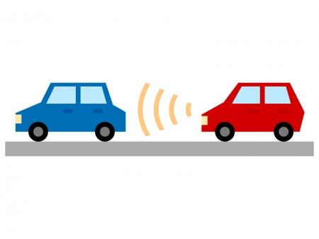 車の自動追従(ACC)のイラスト
