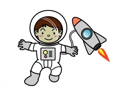 ロケットと宇宙飛行士のイラスト