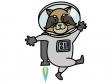 アライグマの宇宙飛行士のイラスト