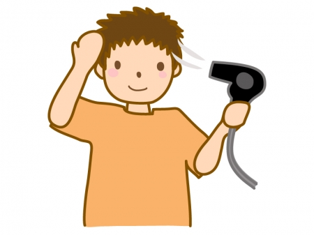 ドライヤーで髪を乾かしている男性のイラスト