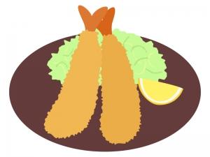 お皿に盛りつけたエビフライのイラスト