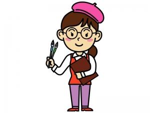 漫画家(女性)のイラスト