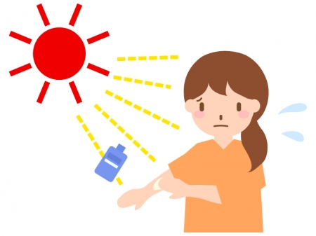 紫外線対策で日焼け止めクリームを塗る女性のイラスト02