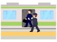 通勤ラッシュで駅員に押し込まれているイラスト