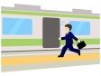 電車の駆け込み乗車のイラスト