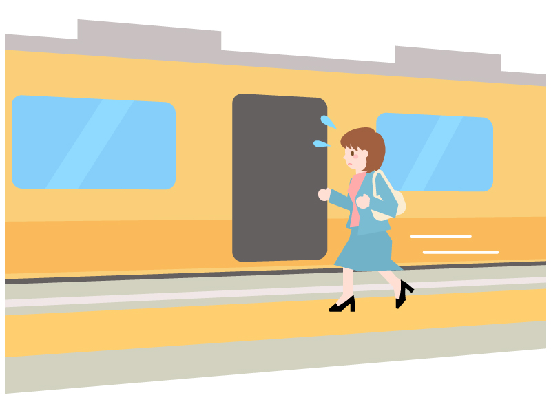 電車の駆け込み乗車のイラスト02