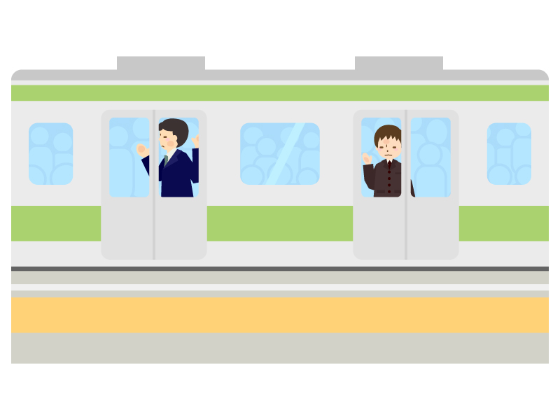 満員電車・通勤ラッシュのイラスト