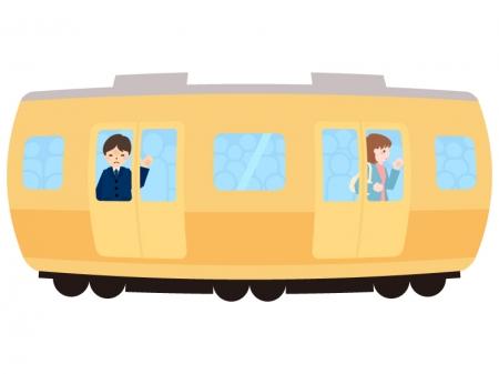満員電車・通勤ラッシュのイラスト02