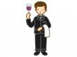 ワイングラスを持っているソムリエのイラスト