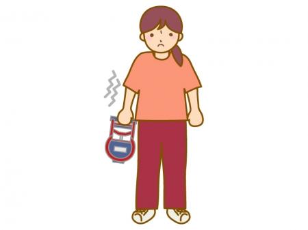 握力測定(女性)のイラスト