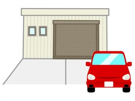 ガレージと車のイラスト
