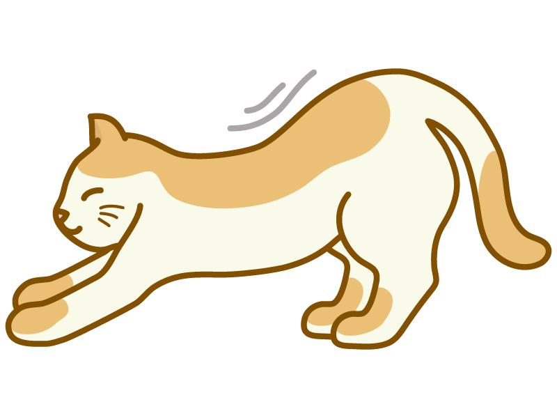 背伸びをしている猫のイラスト