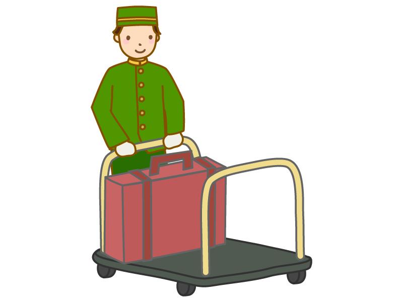荷物を運ぶホテルマンのイラスト