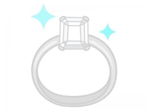 ダイヤの指輪(エメラルドカット)のイラスト
