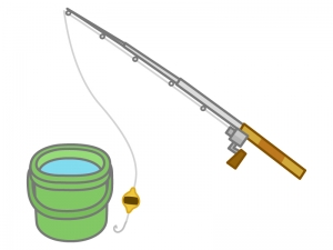 釣り竿とバケツのイラスト