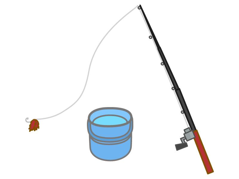 釣り竿とバケツのイラスト02
