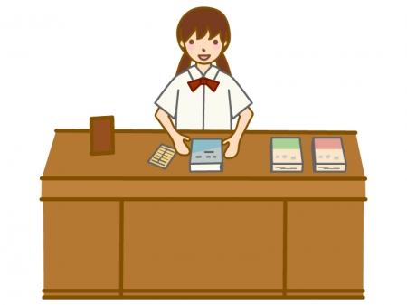 図書委員(女性)のイラスト