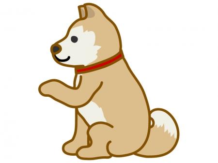 お手をする犬のイラスト