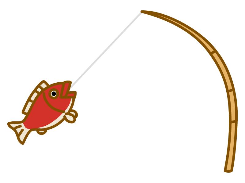 釣り竿と鯛のイラスト