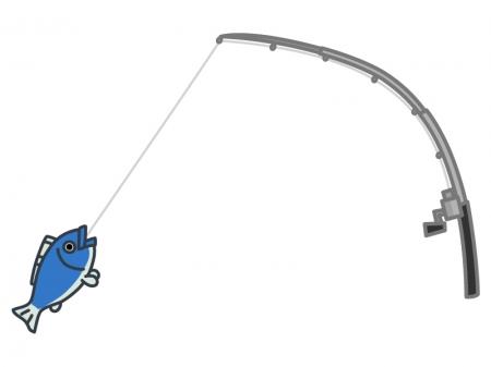 釣り竿と魚のイラスト