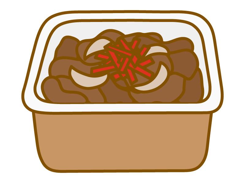 牛丼(持ち帰り用)のイラスト