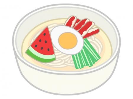 スイカが乗った冷麺のイラスト