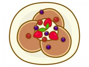 フルーツが乗ったパンケーキのイラスト