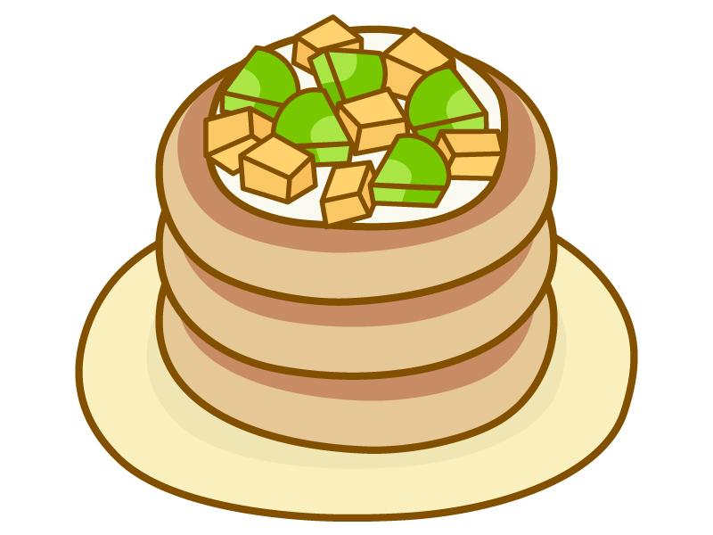 フルーツが乗ったパンケーキのイラスト02