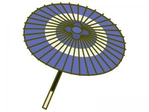 青い和傘のイラスト