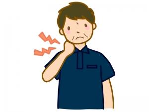 首の痛み・疲れ(男性)のイラスト