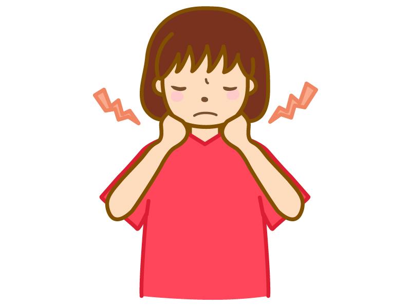 首の痛み・疲れ(女性)のイラスト