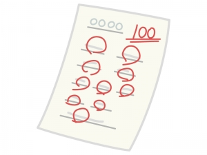100点のテストのイラスト