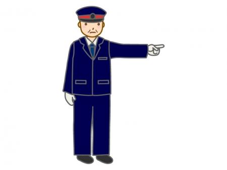 指さし確認をする駅員さんのイラスト