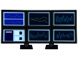 FXなどのトレードをしている複数のモニターのイラスト02