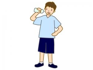 腰に手をあててドリンクを飲む男性のイラスト
