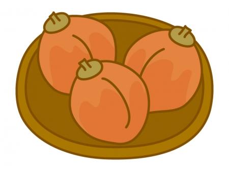 お皿に乗った干し柿のイラスト