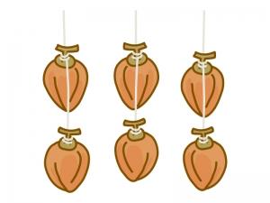 吊るしてある干し柿のイラスト