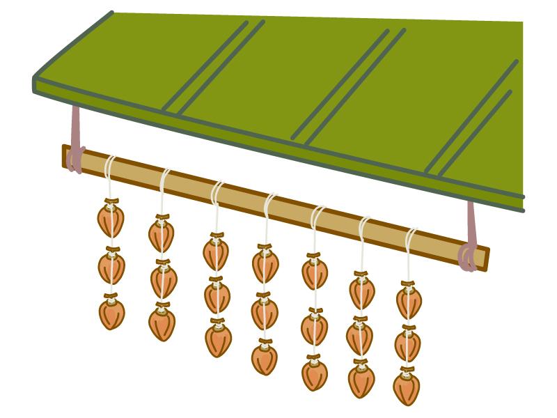 軒下に吊るしてある干し柿のイラスト