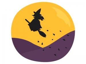 ハロウィン・ほうきに跨った魔女のイラスト