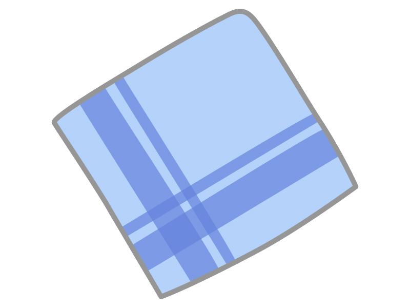 青いハンカチのイラスト