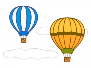 空を移動する気球のイラスト