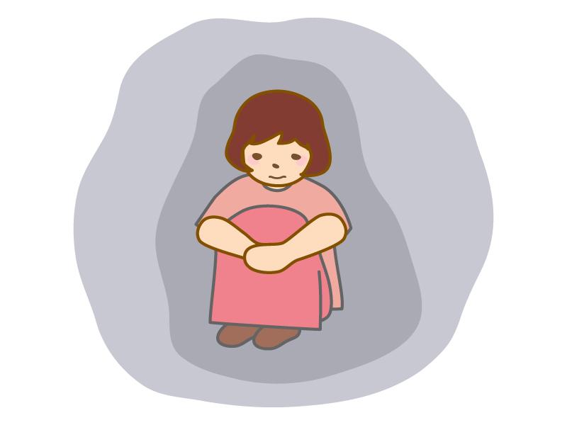 孤独・一人ぼっちの女性のイラスト