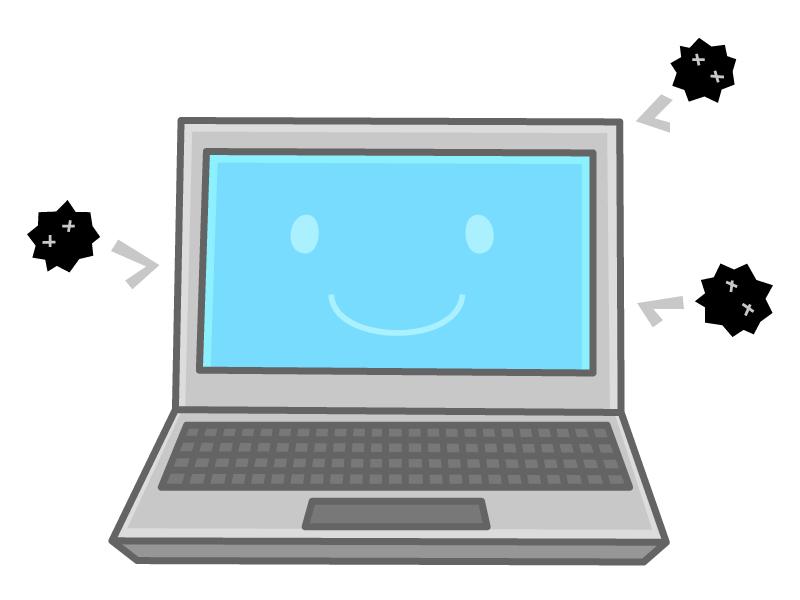 ウイルスガードしているノートパソコンのイラスト